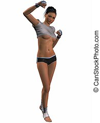 Sexy Kick Boxing Poses - 3D Render of an Sexy Kick Boxing...