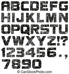 Grunge Letters and Numbers - An Alphabet Set of Grunge...