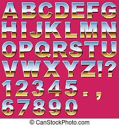 Chrome Letters and Numbers - An Alphabet Sit of Shiny Chrome...