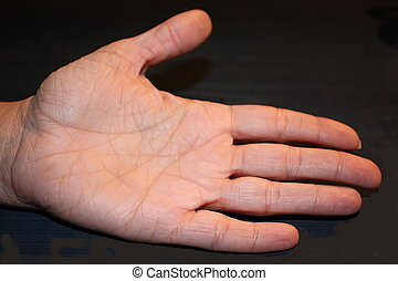 palm reading - the inside of a femal hand with deep lines