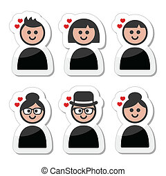 Poeple with hearts, love, valentine - People of different...