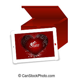 Touch of Love - Business tablet with a Valentine Day message