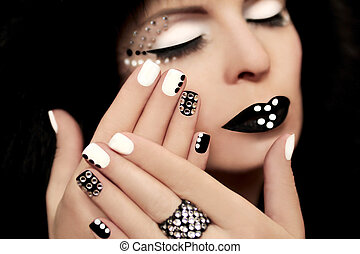 Manicure with rhinestones . - Makeup and manicure with...