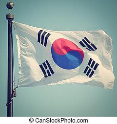 South Korean Flag with retro effect