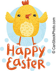 Happy Easter greetings with cute nestling