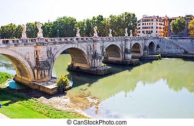 Sant Angelo Bridge - Ponte Sant Angelo bridge in Rome, Italy...