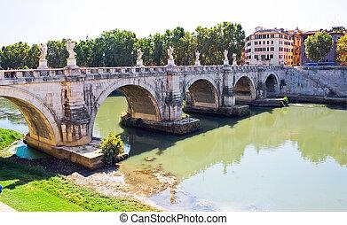 Sant Angelo Bridge - Ponte Sant Angelo bridge in Rome,...