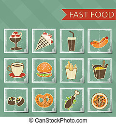 flat design retro style fast food icons set on tablecloth background vector