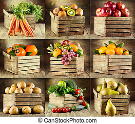 collage of various fruits and vegetables on wooden box