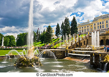 Petergof - Fountain and Palace in Petrodvorets - Peterhof,...