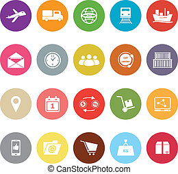 Logistic flat icons on white background, stock vector