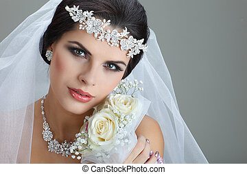 Portrait of beautiful bride Wedding dress Wedding decoration...