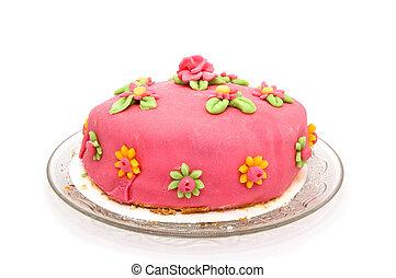 Homemade marzipan cake - A homemade pink marzipan cake with...