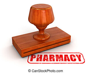 Rubber Stamp pharmacy Image with clipping path