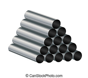 Metal tube. - Metal tube on a white background. Vector...