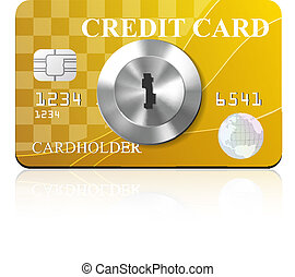 Credit card with keyhole. Vector illustration