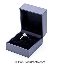 Jewelry box with elegant silver ring - Close-up of a jewelry...