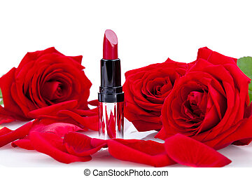 Sexy red or scarlet lipstick with roses - Focus to an opened...