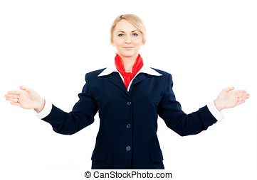 stewardess showing the exit