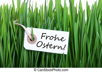 Frohe Ostern with Grass - A Label with the german Words...