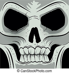 Squared Faced Angry Skull - Vector illustration
