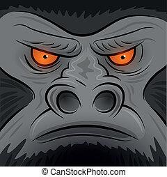 Square Faced Gorilla Ape - Vector illustration