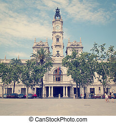 Valencia, Spain - Valencia city hall building with retro...