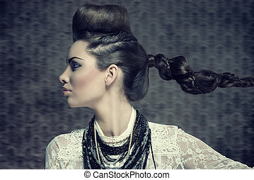 female profile with creative look