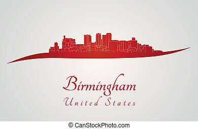 Birmingham AL skyline in red and gray background in editable...