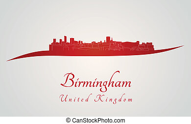 Birmingham skyline in red and gray background in editable...