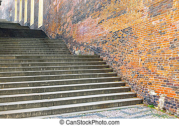 Stairs and old brickwall