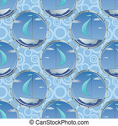 Seamless background, portholes and ships
