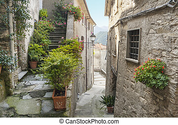 narrow alley - ancient narrow alley in small town Pruno