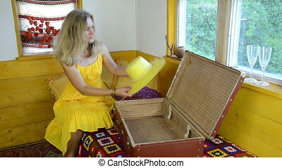 summer clothes hat - blonde woman with yellow summer dress...
