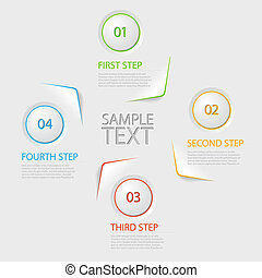 One two three four - flat vector progress icons for four steps