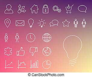 Simple Modern thin icon collection - Vector simple Modern...