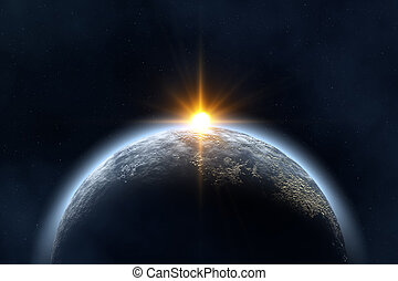 Sunrise - Space landscape : earth and sun image created in...