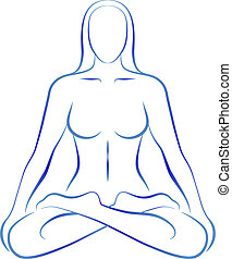Meditation Yoga Position Woman - Illustration of a...
