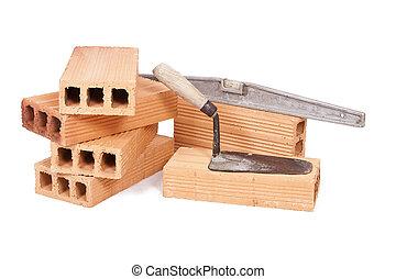 brickwork - construction bricks isolated on white...