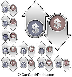 Currency valuation icons - International currency icons on...