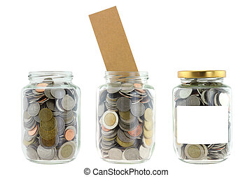 A glass jar with saving money - A glass jar with label,...