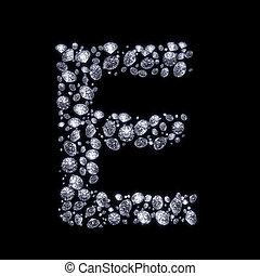 3D Diamond letter on black - 3D Diamond letter E on black...
