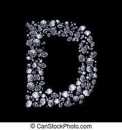 3D Diamond letter on black - 3D Diamond letter D on black...