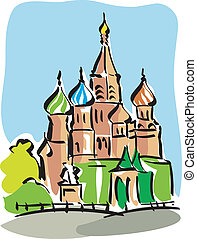 Moscow - Illustration of St Basils Cathedral in Moscow