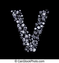 3D Diamond letter on black - 3D Diamond letter V on black...
