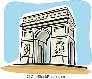 Paris (Arc de Triomphe) - Illustration of the Arc de...