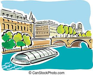 Paris (Bateaux Mouches) - illustration of the bateaux...