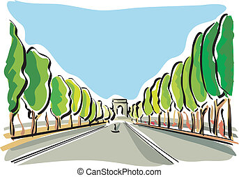 Paris Champs Elysees - illustration of the Champs Elysees in...