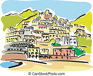 Positano - illustration of a view of Positano