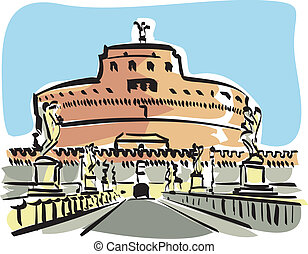 Rome Castel SAngelo - Illustration of the Castel SAngelo in...